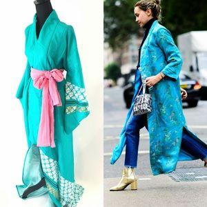 Vintage kimono robe in blue& emerald